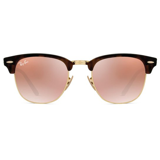 383e9cf811356 Óculos de Sol Ray Ban Clubmaster Flash RB3016 990 7O-51 Feminino - Onça