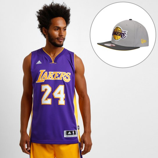 Kit Camiseta Regata Los Angeles Lakers - Kobe Bryant + Boné New Era 950  Reflect Los 9a8321e3877