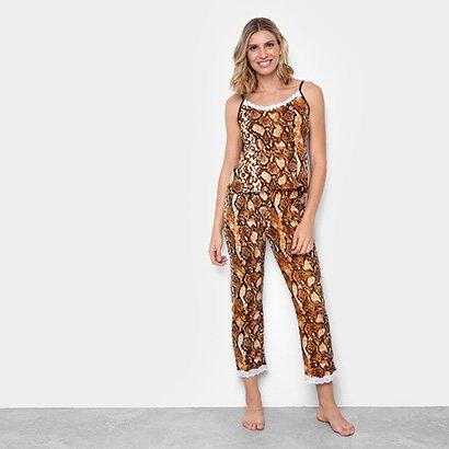 Pijama Flora Zuu Animal Print Cobra Feminino
