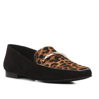 Mocassim Couro Shoestock Loafer Onça Feminino