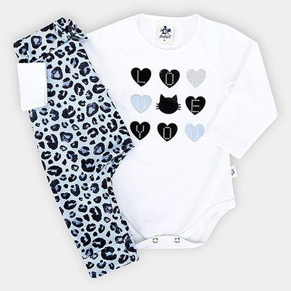 Conjunto Infantil Andritex  Body Animal Print Onça