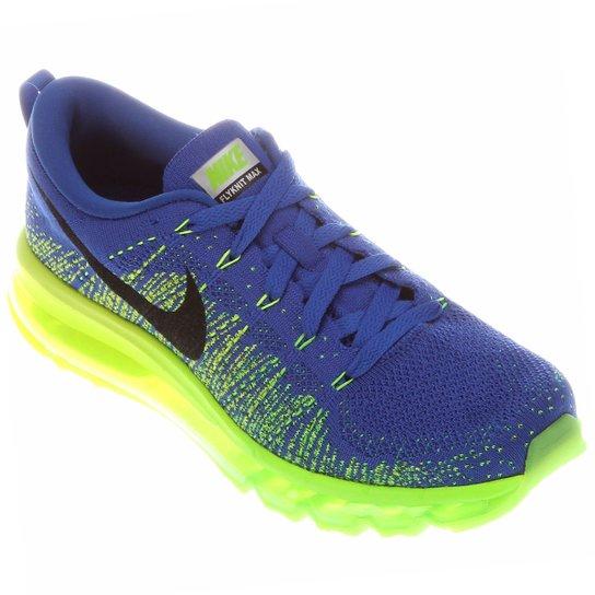 9ce62d6cdbd Tênis Nike Flyknit Air Max Masculino - Azul+Verde Limão