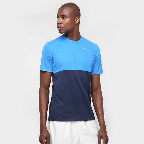 Camiseta Nike Dri-Fit Racer Masculina - Azul Turquesa+Marinho de7cd448d1c9d