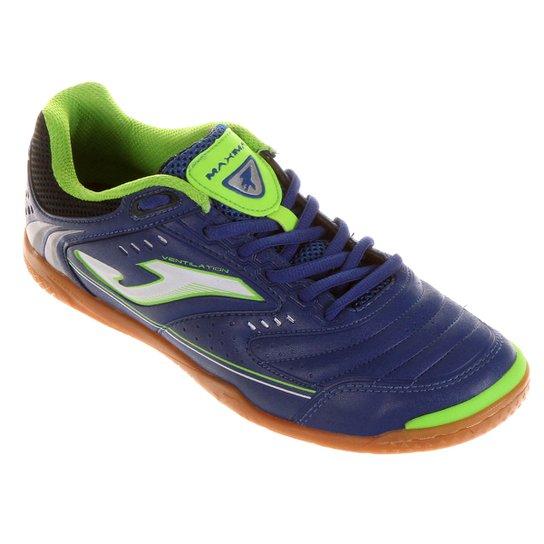 Chuteira Joma Maxima Futsal - Azul+Verde Limão 81dee895fd552