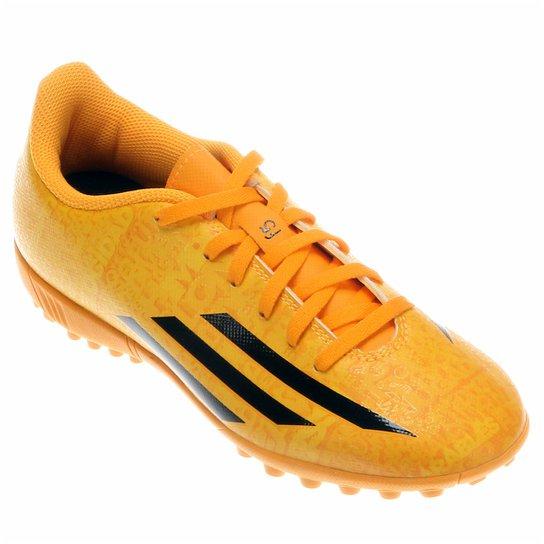 Chuteira Adidas F5 TF Messi Juvenil - Amarelo+Laranja c994642f2bf69