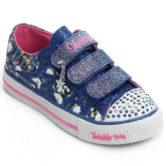d685ea88f2f Tênis Skechers Shuffles Glitter Glitz Infantil - Azul Royal+Rosa
