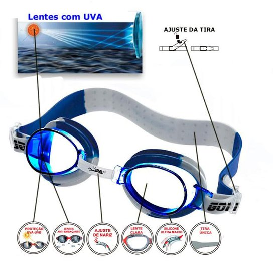 af409c08409b6 Óculos De Natação Gold Sports Kids Splash - Azul Royal - Compre ...