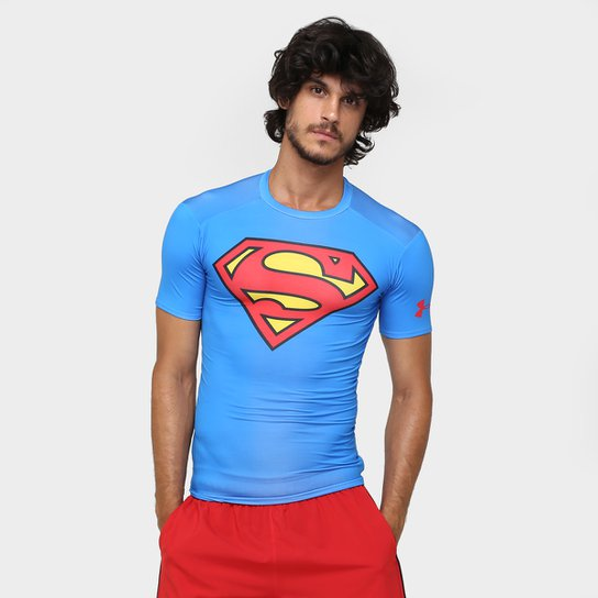 7149cac641ad7 Camiseta de Compressão Under Armour Superman Masculina - Azul Royal ...