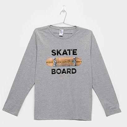 Camiseta Infantil Pulla Bulla Manga Longa Skate Masculina