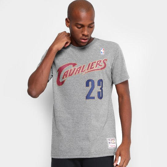 Camiseta NBA Mitchell   Ness Lebron James Masculina - Cinza - Compre ... 837e2ae0f23cb