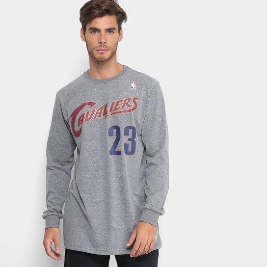 Camiseta NBA Lebron James Mitchell   Ness Manga Longa Masculina - Cinza b9a41b3261079