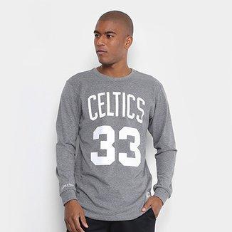 ef58d58eca8e8 Camiseta Mitchell   Ness Celtics 33 Bird Manga Longa Masculina