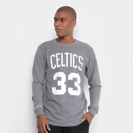 Camiseta Mitchell   Ness Celtics 33 Bird Manga Longa Masculina - Cinza f02b9c036a28c