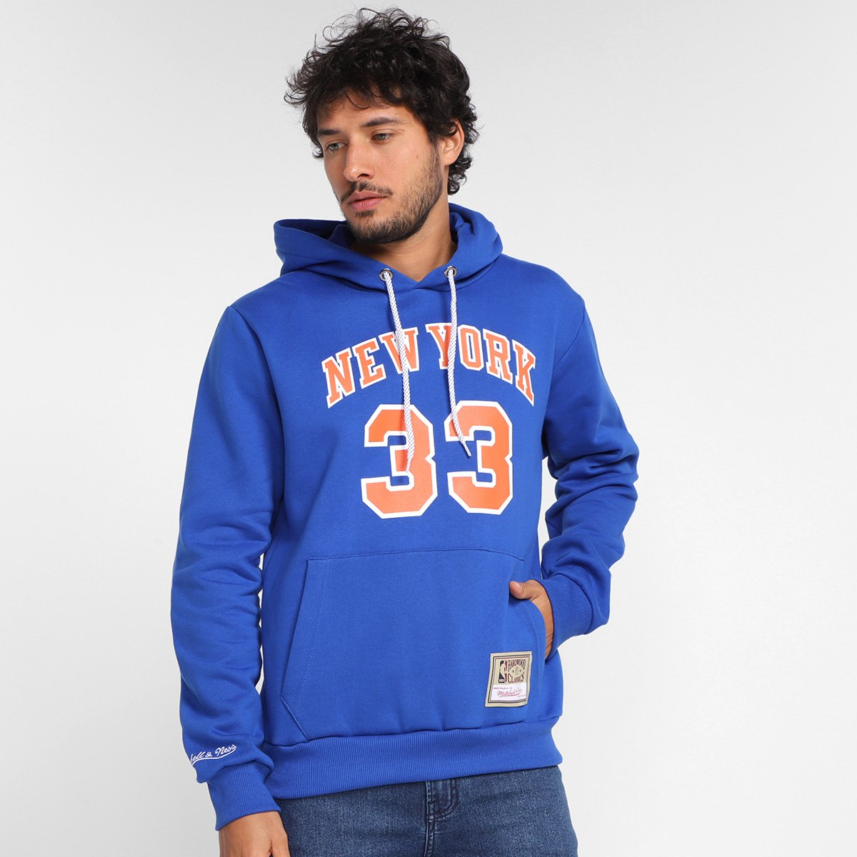 Moletom New York Knicks Patrick Ewing Mitchell & Ness Canguru Masculina