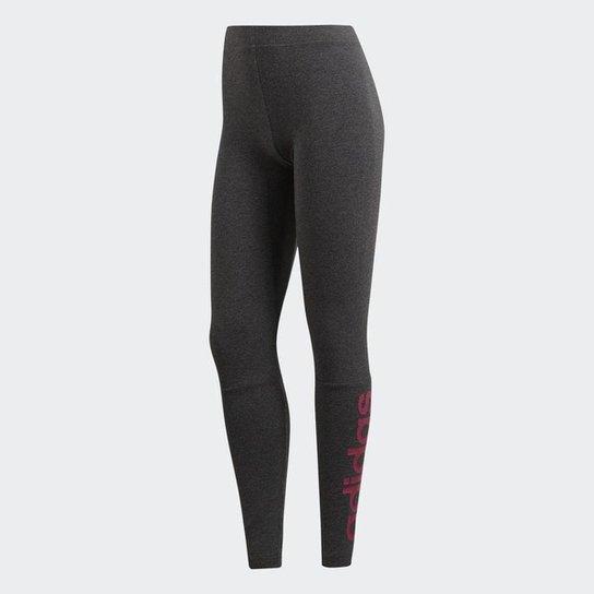 e1e3e79fc Calça Legging Adidas Essential Linear Feminina - Cinza | Netshoes