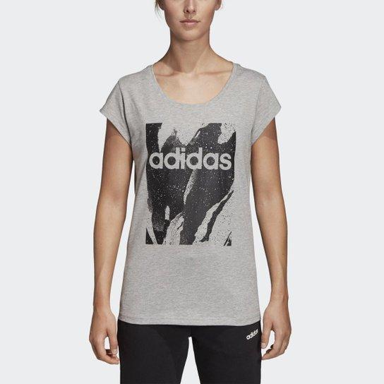 a418438351c97 Camiseta Adidas W E Aop Tee Feminina - Cinza - Compre Agora