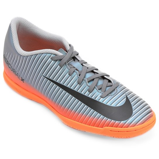 79d3077a325fb Chuteira Futsal Nike Mercurial X Vortex 3 CR7 IC - Cinza+Laranja