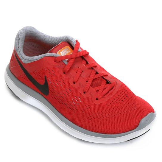 dcf499a852 Tênis Nike Flex 2016 Rn Infantil - Vermelho+Cinza