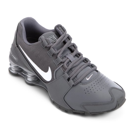 80692d1da91 Tênis Couro Nike Shox Avenue LTR Masculino - Cinza - Compre Agora ...