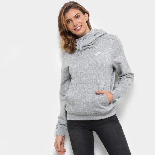 8b050123fb9 Moletom Nike Sportswear Funnel-Neck Feminino - Cinza - Compre Agora ...