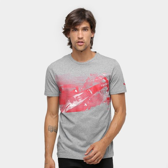 Camiseta Puma Scuderia Ferrari Transform Graphic Masculina - Cinza+Vermelho 266eea518b30c