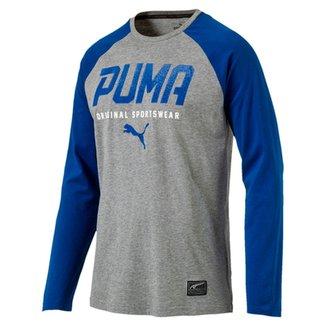 Camiseta Manga Longa Puma Tec Baseball 4a1dfcf47f1