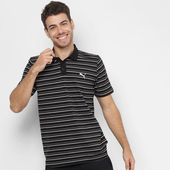 Camisa Polo Puma Ess Sports Stripe Pique Masculina - Cinza - Compre ... cc3c15000d25c