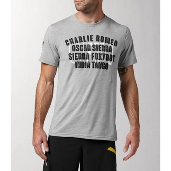 2a572aec2 Camiseta Crossfit Charlie Foxtrot Tee - Reebok - Cinza - Compre ...