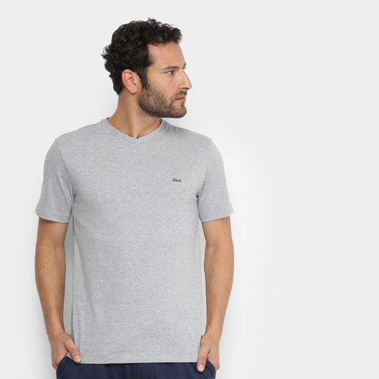 98380208936 Camiseta Lacoste Gola V Masculina - Cinza - Compre Agora
