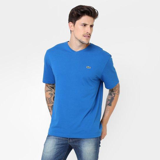 Camiseta Lacoste Gola V Masculina - Azul Royal - Compre Agora  da699d4b453