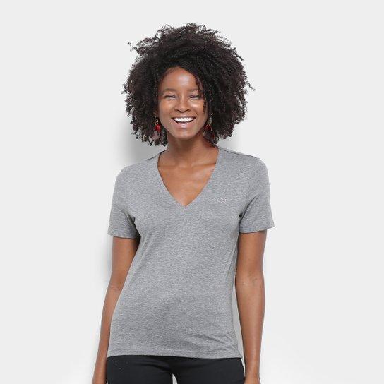 7c6d57c9d2a Camiseta Lacoste Gola V Feminina - Cinza - Compre Agora