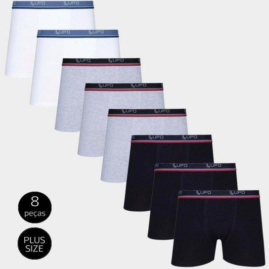 b9c401e3a2408e Kit Cueca Lupo Boxer Tamanho Especial Plus Size - 8 Peças - Cinza