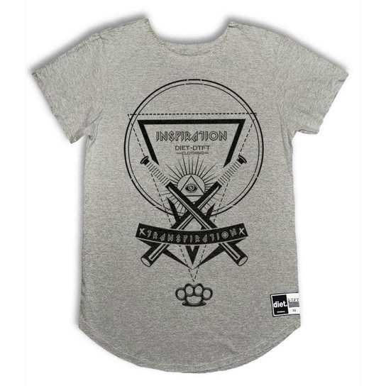 23577e994 Camiseta Longline Inspiration - Cinza - Compre Agora