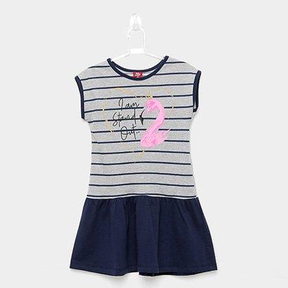 Vestido Infantil Bee Loop Listrado Flamingo