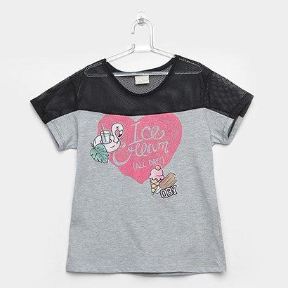 Camiseta Infantil Up Baby Meia Malha Ice Cream Feminina