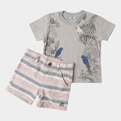 Conjunto de Camiseta + Bermuda Infantil Up Baby Masculino