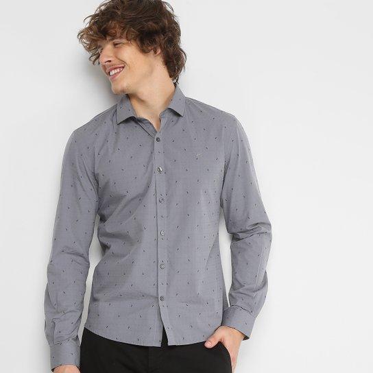 98187e5e84 Camisa Slim em Jacquard Ellus Estampada Manga Longa Masculina - Cinza