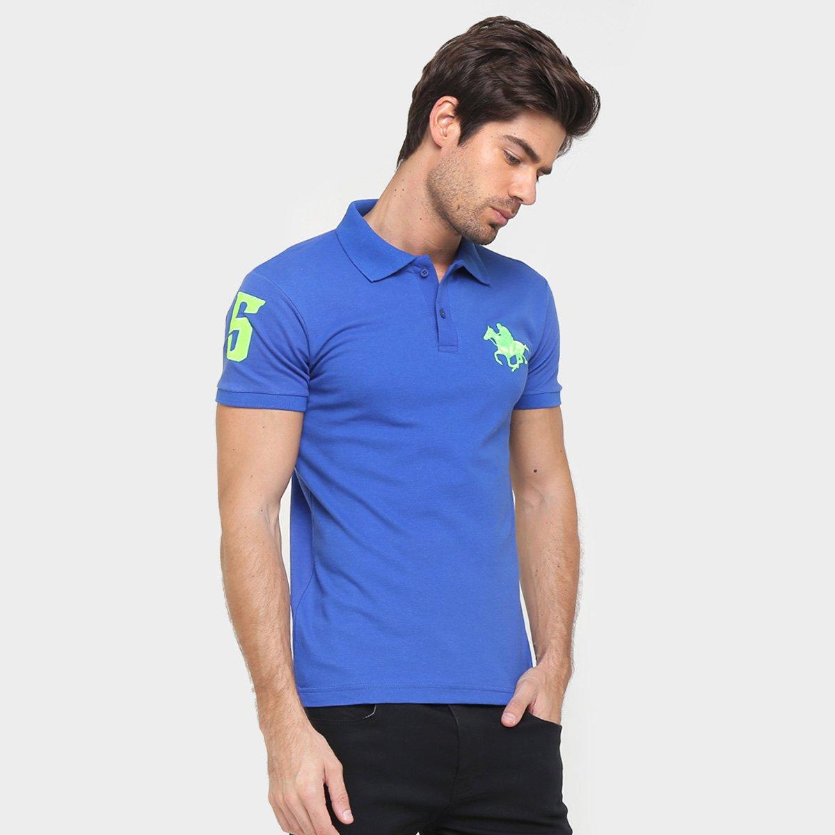 Camisa Polo Rg 518 Piquet Bordado Contraste Color  90d423732a59a