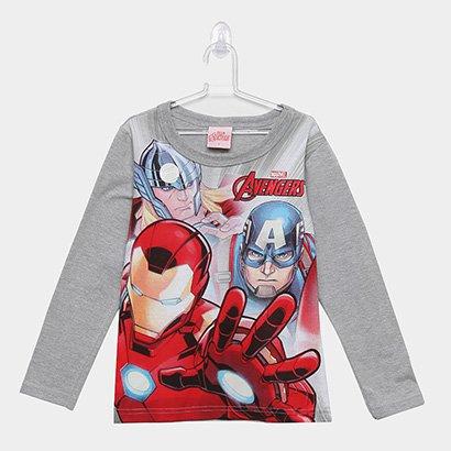 Camiseta Infantil Manga Longa Brandili Avengers Brilha No Escuro