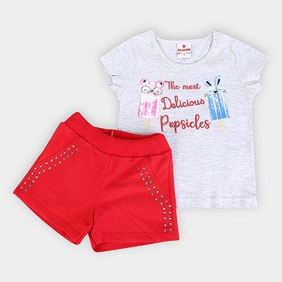 Conjunto Infantil Brandili Blusa+ Short Moletinho Feminino