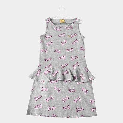 Vestido Infantil Fakini Peplum Barbie Monograma