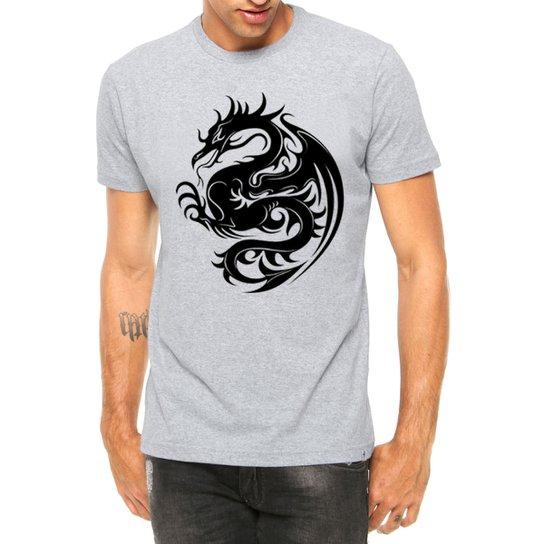 2655053b0a Camiseta Criativa Urbana Dragão Tribal Tattoo Manga Curta - Cinza ...