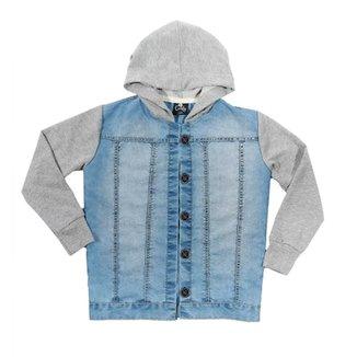Jaqueta Infantil Jeans Capuz em Moletom Comfy Feminina 8f0eeb7b9fd77