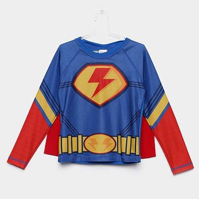 Camiseta de Praia Infantil Tip Top Herói com Capa Masculino