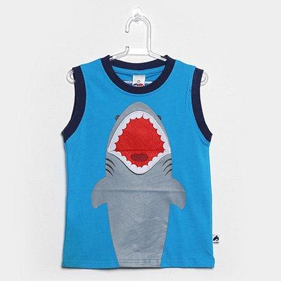 Camiseta Infantil Tip Top Regata Praia Tod Tubarão Masculina