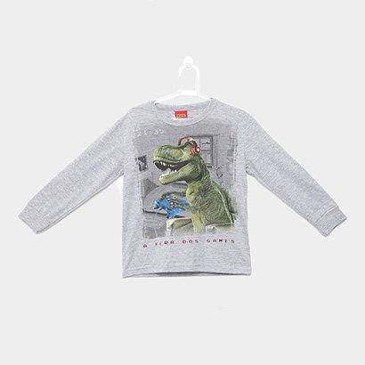 Camiseta Infantil Kyly Dinossauro Manga Longa Masculina