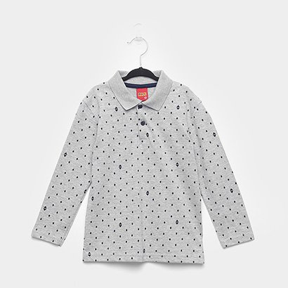 Camisa Polo Infantil Kyly Mini Print Manga Longa Masculina