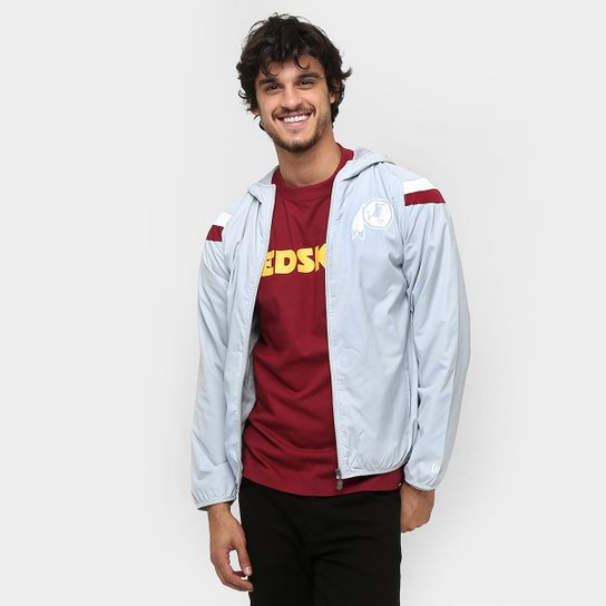 Jaqueta New Era NFL Windbreaker Washington Redskins C  Capuz - Cinza c4c929cd8e8