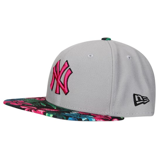 Boné New Era MLB 950 Of Sn Gray Black Floral New York Yankees - Cinza d143d675dba