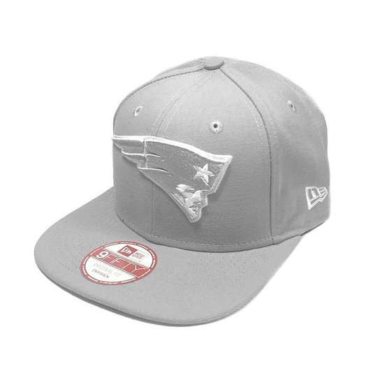 Boné New Era New England Patriots 950 Snapback White on Gray - Cinza d84e50cf93e31